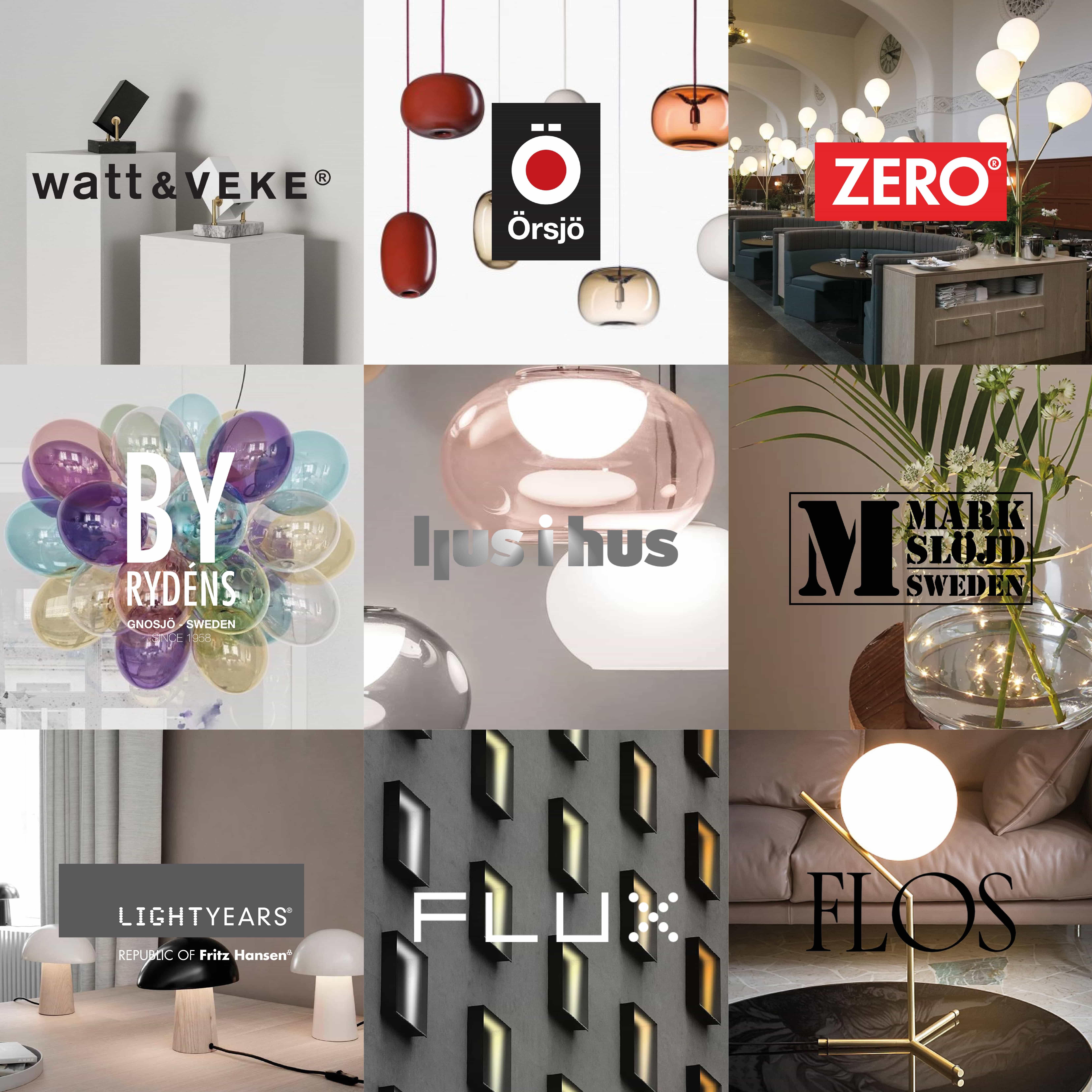 belysning och lampor från varumärken vi erbjuder
